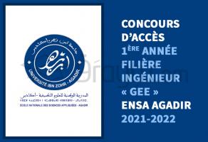 Cncours d'accès en 1ère année de filière Ingénieur « Génie Énergétique et Environnement » de l'ENSA Agadir 2021-2022