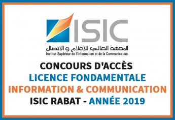 Concours d'accès en 1ère année de la Licence Fondamentale Information et Communication de l'ISIC 2019